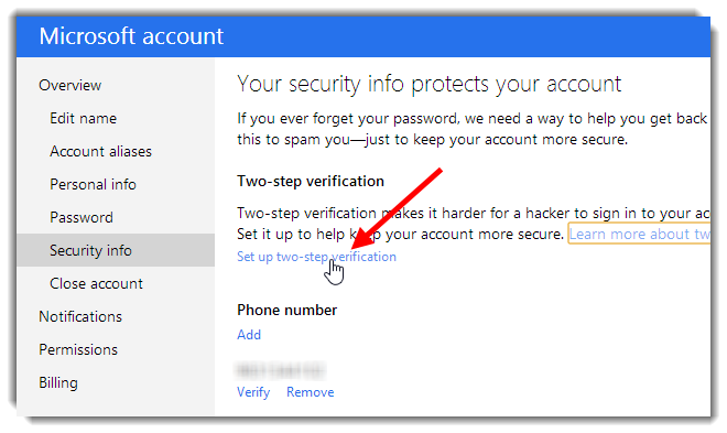 Enable Two Step Verification on Outlook.com