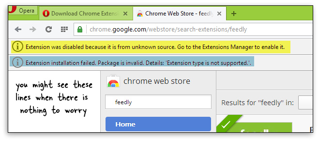 Install Chrome Extensions in Opera