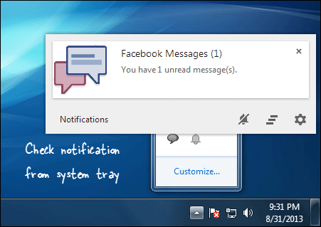 Get Facebook Notification on Desktop