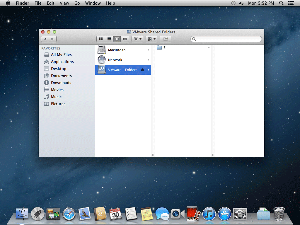os x mountain lion vmware shared folder