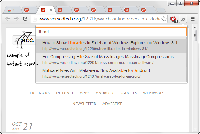 Enable Instant Search to find Tabs Quickly in Chrome